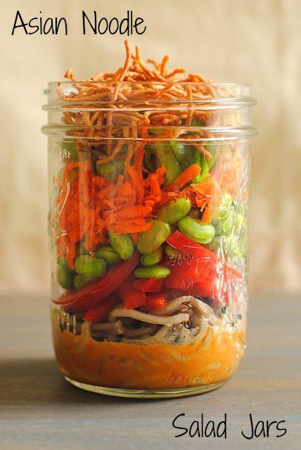 Asian Noodle Salad Jars - a portable, colorful and healthful lunch! | foxeslovelemons.com