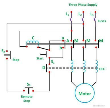 Direct Online Starter Electrical Circuit Diagram Circuit Diagram Basic Electrical Wiring