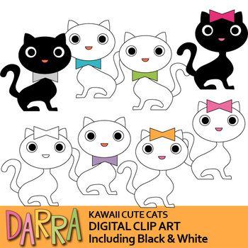 Cats Clip Art White And Black Kawaii Cute Cats