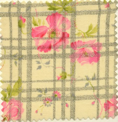 Early 20th century swatch. Great mix of plaid and floral.