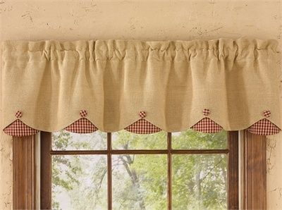 Lined Scalloped Valance Burlap Check Wine 58 X14 Park Designs 58x14 Burlap Ch In 2020 Farmhouse Style Kitchen Curtains Trending Decor Country Kitchen Curtains