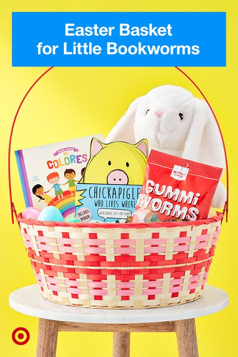 Create a perfect basket for little readers, with plush toys, board books and Market Pantry Gummi Worms.