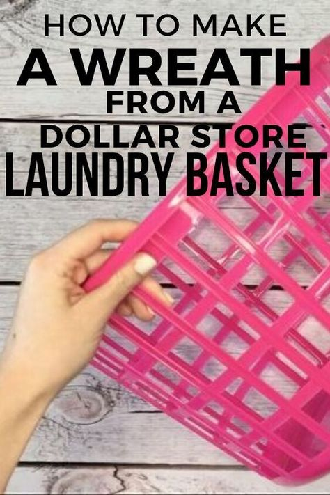 Check out this wreath hack by using dollar store laundry baskets. A quick and easy way to make a wreath for Fall, Winter, Spring or Summer. This DIY wreath hack idea is a great way to decorate your home on a budget. #hometalk