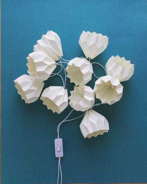 White origami light string