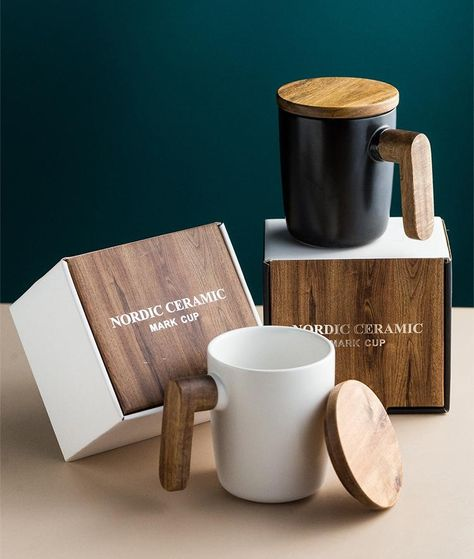 Nordic Coffee Cup Ceramic With Wooden Handle Cover Scandinavian Retro Design Coffee Mug Gift Box Set For Coffee Lovers Mugs Wooden Handles Ceramics