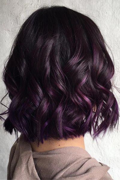 Hair Color Purple, Hair Color For Black Hair, Raven Hair Color, Brown Hair Balayage, Hair Color Balayage, Haircolor, Eggplant Colored Hair, Eggplant Hair, Dip Dye Hair