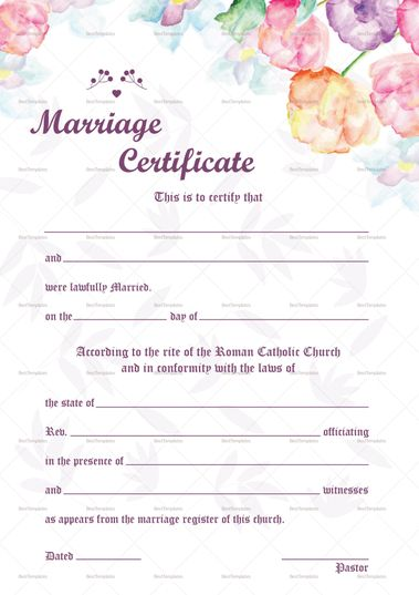 Watercolor Wedding Certificate Template  Formats Included  Ms