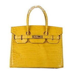 65bb17a9f48 Wholesale Réplique Hermes Birkin 30CM Sacs fourre-tout jaune irisé Croco  Lea - €288.32   réplique sac a main
