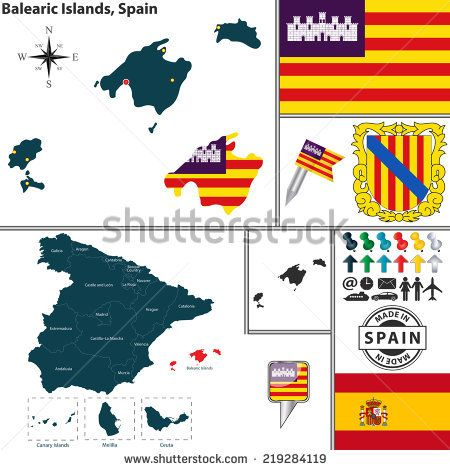 Map Of Spain For Android.Vector Map Of Region Of Balearic Islands With Coat Of Arms And
