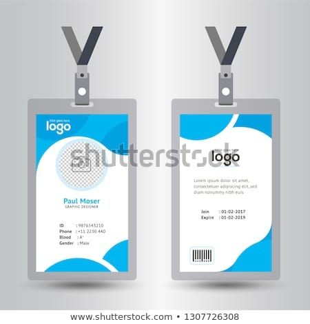 Identification Card With Lanyard Set Isolated Vector Illustration