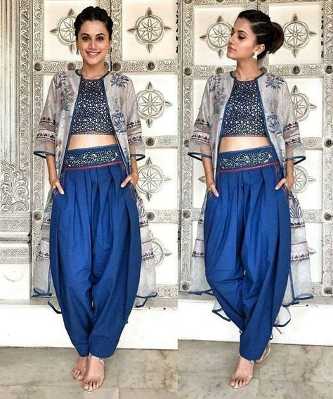 Taapsee pannu salwar and crop top outfit ethnic fashion indian fashion, fas