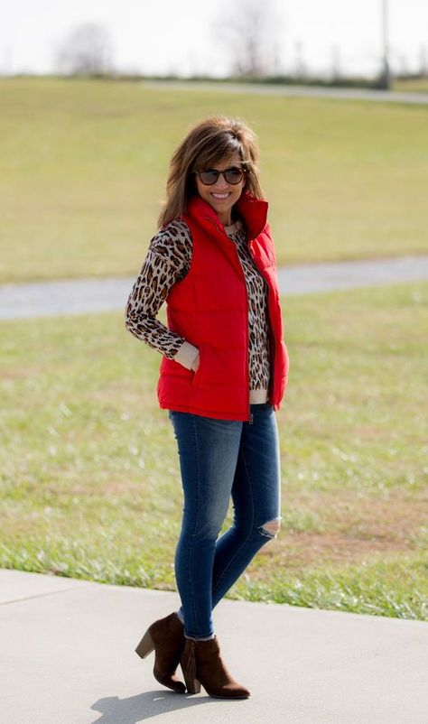 Old Navy Red Quilted Vest-Winter Fashion - Cyndi Spivey - Put a cheetah print with a red vest and voila, you have a terrific, unexpected look!