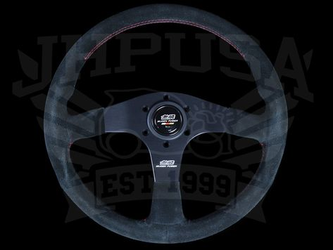 Mugen 350mm Racing 3 Steering Wheel Black Suede Red Stitch Steering Wheel Racing Black