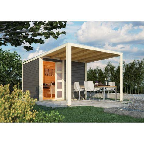 Karibu Gartenhaus Qubic 2 Mit Schiebetur Und 270 Cm Anbaudach 19 Mm Mein Gartenshop24 Karibu Gartenhaus Gartenhaus Haus