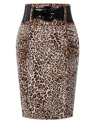 GRACE KARIN Jupe Crayon Moulante Taille Haute Elastique Femme Bureau Midi Jupe de Soiree Cocktail Vintage