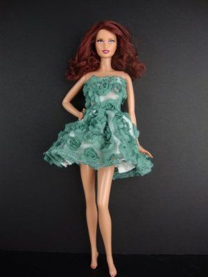 Two Tone Gown with Dark Blue and White Made to Fit Barbie Doll