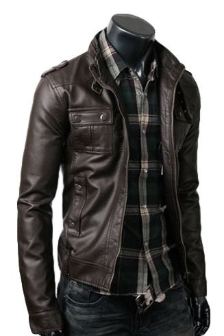 Buy Online Strap Pocket Dark Brown Zipper Jacket, also Sale on Stylish Shirt Style Two Pocket Jacket at Cheapest Prices.