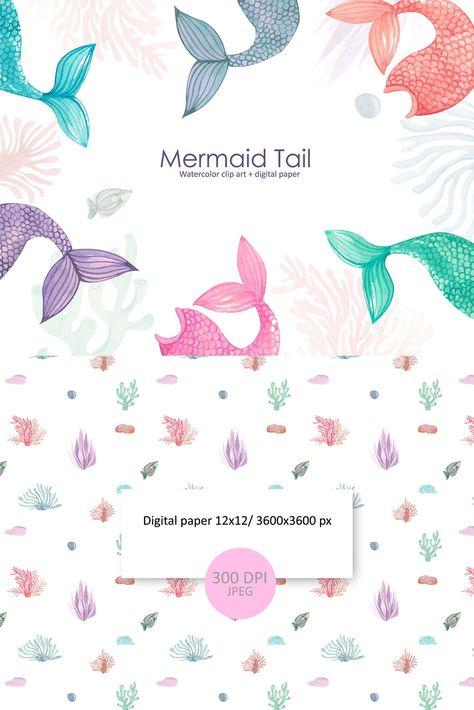 Mermaid Tail Clipart. (1172802) | Illustrations | Design Bundles