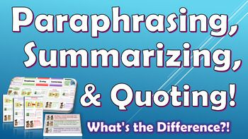 My Student Ela Teacher Needed Some Visual Support To Understand The Difference Between Paraphrasing Summarizing Quoting Summarize Quotes Paraphrase V Summary Ppt
