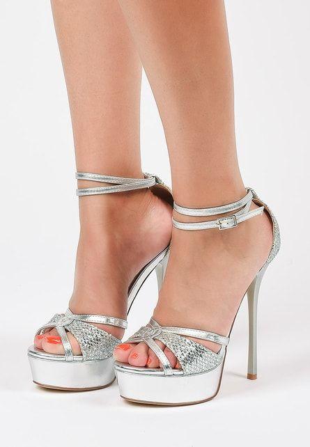 Sandale Cavisa Argintii Cu Platforma Rl Sandale Tocuri Argint