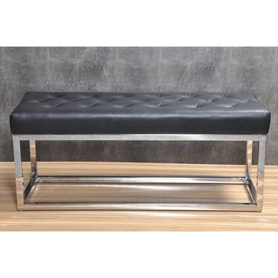 Trent Austin Design Adelinda Metal And Leather Bench Upholstery Black Color Silver Leather Bench Trent Austin Design Leather Cushion
