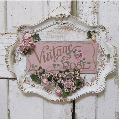 Serving tray wall hanging shabby cottage chic painted 'vintage rose' plaque roses millinery flower embellished sign decor anita spero design - Ornate platter hand painted sign wall hanging by AnitaSperoDesign - Cottage Shabby Chic, Cocina Shabby Chic, Shabby Chic Mode, Style Shabby Chic, Shabby Chic Crafts, Shabby Chic Kitchen, Shabby Chic Decor, Rose Cottage, Shabby Chic Wreath