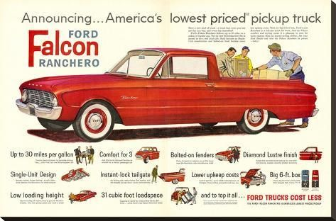 Ford 1960 Falcon Ranchero Stretched Canvas Print Art Com Ford Trucks Ford Trucks For Sale Ford
