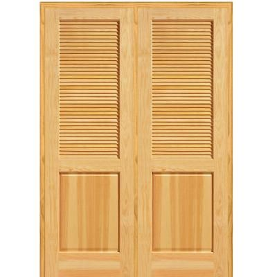 Mmi Door 60 In X 80 In Half Louver 1 Panel Unfinished Pine Wood Right Hand Active Double Prehung Interior Door Z022659r Prehung Interior Doors Double Doors Interior Interior