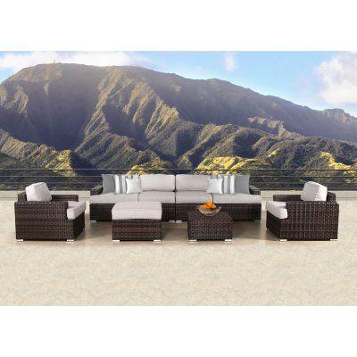outdoor sunhaven lucia wicker 8 piece patio conversation set sun