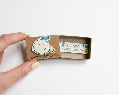 Cute Whale Birthday Card Matchbox/ Small Tiny Gift by 3XUdesign