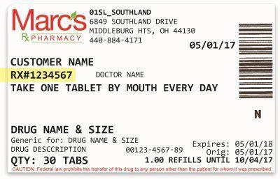 Marcs Pharmacy Prescription Refill Label Prescription