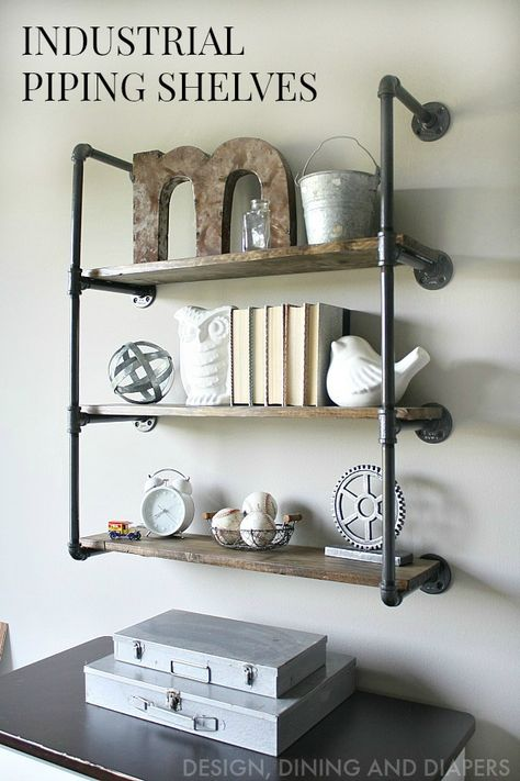 #DIY industrial piping shelves are functional and add a great shabby chic note to any room. #homedecor