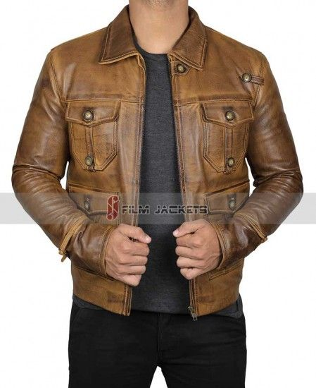 Aviatrix Mens Real Leather Jacket Biker Style Vintage Brown Zipped Pockets Casual Fitted Retro Brown