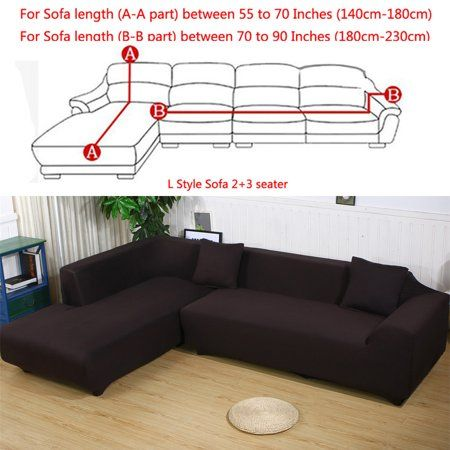 All Cover Sectional Sofa L Shape 2pcs Slipcover Elastic Washable Couch Cover 2seater 55 To 74inch Sectional Sofa Slipcovers Slip Covers Couch Couch Covers