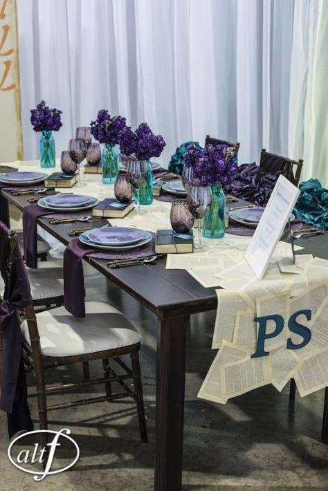 Purple Teal table, Fall wedding ideas, paper wedding ideas, Autumn wedding, Fall inspiration table, purple wedding, teal wedding place setting