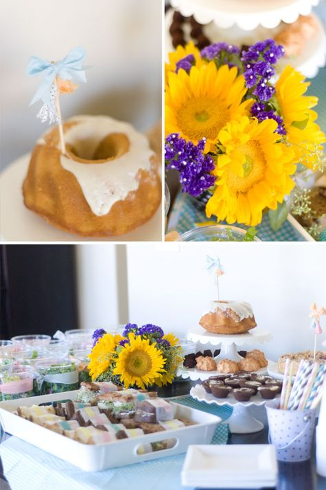 Pair softly colored treats with bright florals on the dessert table.