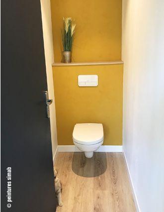 Peinture Jaune Moutarde Pale Fluo Deco Wc Moderne Deco Toilettes Deco Wc