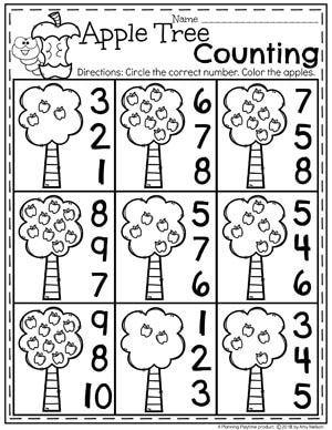 apple tree counting preschool