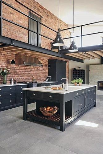 This industrial style shaker kitchen was installed by bespoke kitchen manufacturer Tom Howley for a client who wanted a design that would complement the architectural elements of their new converted barn eco home. Industrial Kitchen Design, Industrial Interiors, Industrial House, Industrial Lighting, Vintage Industrial, Industrial Furniture, Industrial Style Kitchen, Kitchen Modern, Interior Design For Kitchen