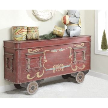 Wood Train Car Tabletop Chest- so adorable for the holidays! Also perfect for a vintage style child's room or nursery. www.acottageinthecity.com
