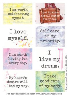 #affirmations #resolutions #intentions   Affirmations about selfcare - free to download - by Ursula Markgraf