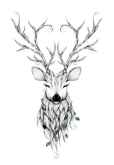 Poetic Deer Art Print by LouJah                                                                                                                                                                                 Mais