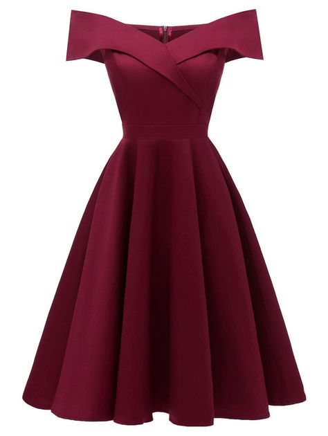 2018 OFF The Shoulder Foldover #Cocktail #Dresses In Red Wine | Rosegal.com #party #graduation