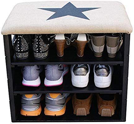 Meuble Chaussures Noir Banc De Rangement Pour Chaussures Avec Etageres Assise Confortable En Tissu Rangement Chaussures Meuble Chaussure Banc De Rangement
