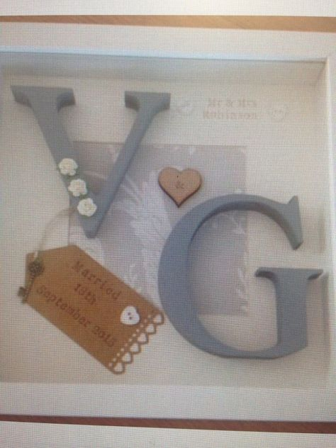 Personalised box frame gift ideal for weddings by PolkaDottCrafts