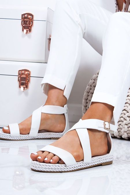 Heidi White Strappy Rope Sandals Rope Sandals Studded Gladiator Sandals Strappy Block Heel Sandals