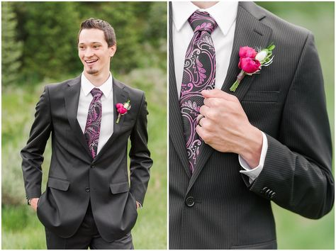 Groom in black suit with deep pink and black tie | Utah Mountain Wedding Formal Session | Tibble Fork Summer Formal Session | Jessie and Dallin Photography #utahwedding #utahsummerwedding #utahbride #utahweddings #utahvalleybride #summerwedding #mountainwedding #utahelopement #utahmountains #rockymountainwedding #tibblefork #elopement