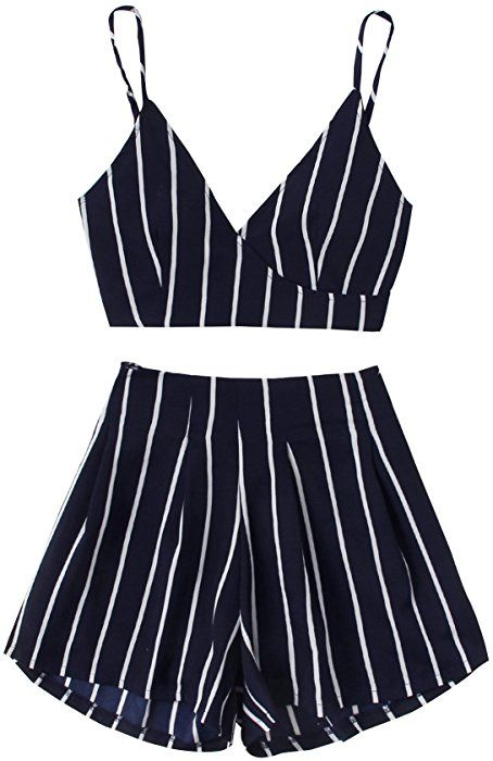 Makemechic Women S 2 Piece Outfit Summer Striped V Neck Crop Cami Top With Shorts Navy S At Amazon Trendy Holiday Outfits Holiday Outfits Women 2 Piece Outfits