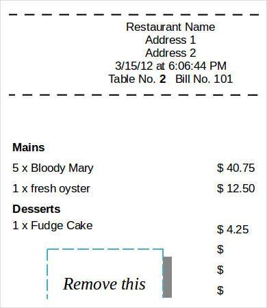 Printable Restaurant Sales Receiptprintable Restaurant Sales Receipt Receipt Template Free Receipt Template Invoice Template