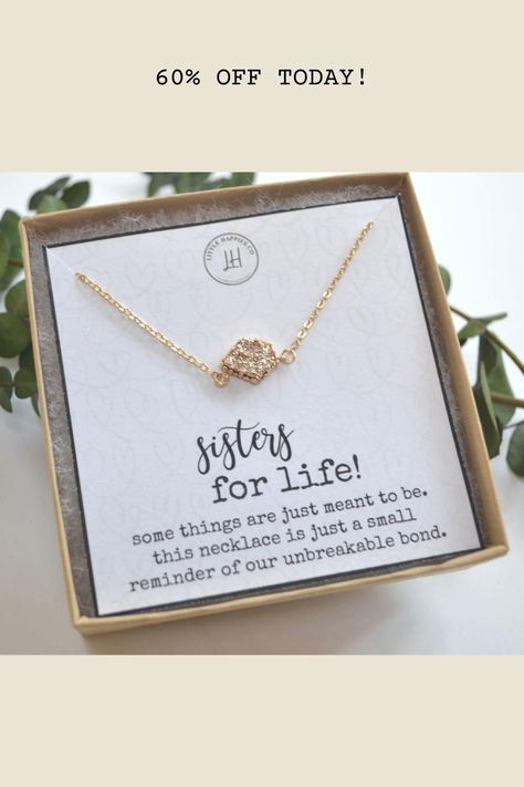 e're getting starry-eyed just looking at this sparkly necklace! 🤩 Our sisters necklace is crafted with a shimmery druzy stone attached to a pretty gold or silver chain. It comes with a beautiful friendship card that's guaranteed to make your bestie's day. 💞 #bestfriends #personalisedgift #bestfriendgifts #styleoftheday #giftsforfriends #giftsforher #necklace #card #cards #friendship #weddinggiftsidea #weddinggiftsideas #shoplocal #shopetsy #handmade #shopsmall #shopmyetsy #surpriseyourbff